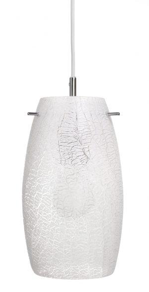 Ripustettava, lasinen kattovalaisin, jonka pinnassa on uritettu kuviointi. Valaisin on valkoinen ja siinä on teräksen värinen kanta. Johto on valkoinen.