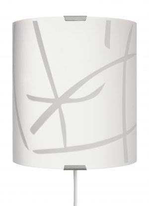 Domus-S on seinävalaisin jossa on metallinen harmaa kiinnitysosa ja kaareva lasi. Lasissa on valkoisia kuvioita.