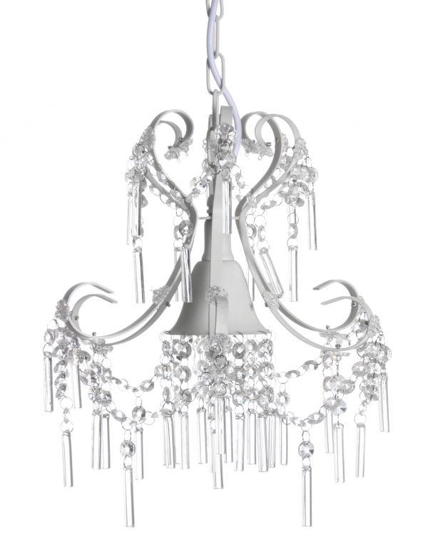 Kristallivalaisin jonka runko on metallinen. Valaisin on väriltään valkoinen.