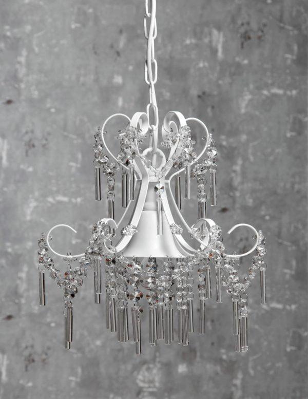 Kristallilamppu jonka runko on metallinen. Valaisin on väriltään valkoinen.