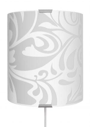 Modus-s on seinävalaisin jossa on metallinen harmaa kiinnitysosa ja kaareva lasi. Lasissa on valkoisia kuvioita.