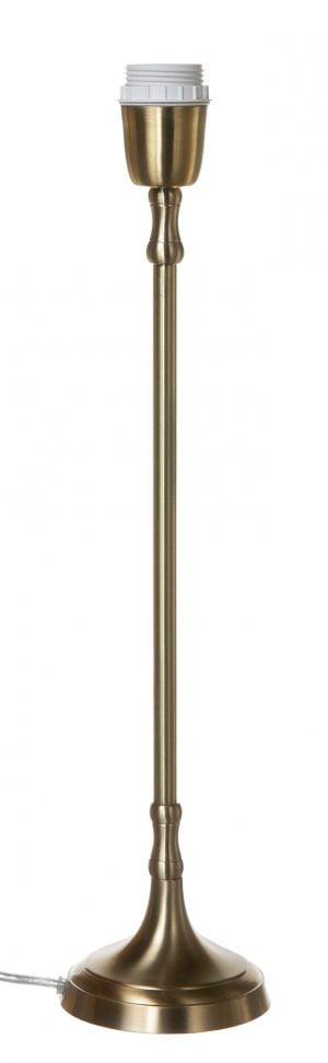 Antikmessingin värinen, metallinen lampunjalka.