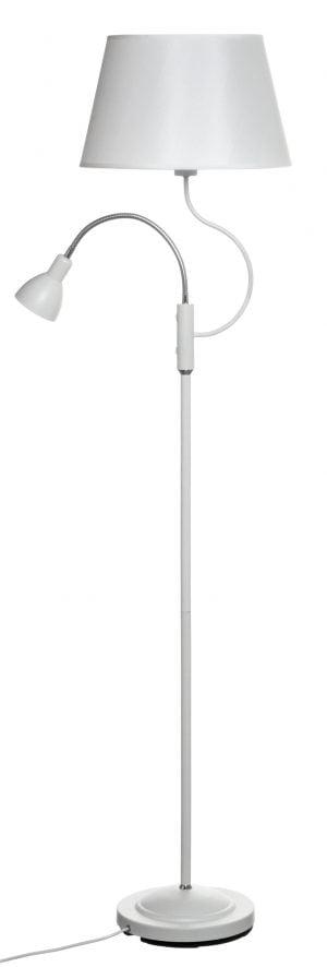 Metallinen lattiavalaisin jossa on erillinen käänneltävä lukuvalo. Jalkalamppu on väriltään valkoinen ja siinä on kaksi valopistettä.