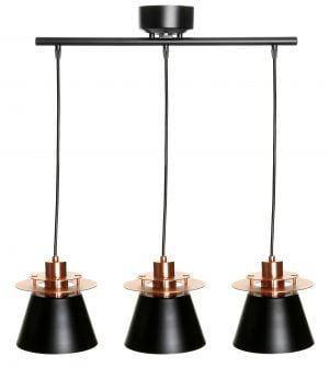 Metallinen biljardivalaisin. Väreinä kupari ja musta. Valaisimessa on kolme valopistettä.