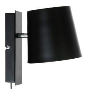 Metallinen seinävalaisin jonka väri on musta. Seinälamppu on sisäpuolelta valkoinen.