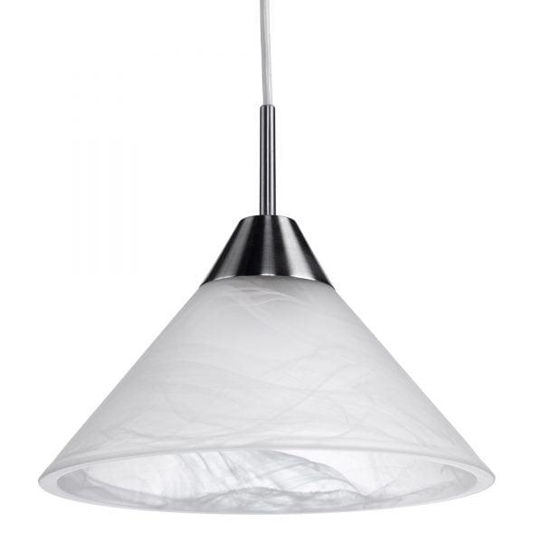 Riippuva, lasinen katto valaisin. Valaisin on marmorikuvioitua lasia ja siinä on teräksen väriset metalliosat.
