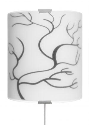 Winter Tree on seinävalaisin jossa on metallinen harmaa kiinnitysosa ja kaareva lasi. Lasissa on musta oksa kuvio.