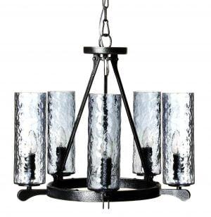 Metallinen kattokruunu jonka lasien sävy on siniharmaa. Valaisimessa on viisi valopistettä.