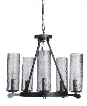 Agnes on metallinen kattokruunu jonka lasien sävy on siniharmaa. Valaisimessa on viisi valopistettä.