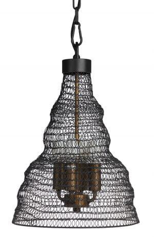 Riippuva, metallinen kattovalaisin. Valaisin on valmistettu metalliverkosta ja sen väri on musta.