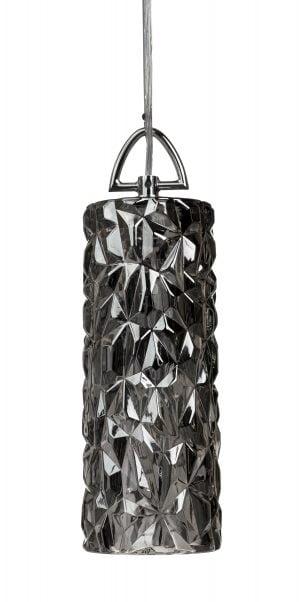 Riippuva, lasinen kattovalaisin. Valaisin on kromin värinen ja yksivärinen. Myös metalliosat ovat krominväriset.