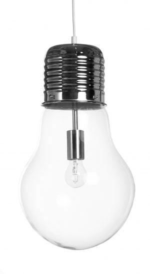 Hehkulampun muotoinen riippuva, lasinen kattovalaisin. Valaisin on kirkas ja se on yksivärinen. Metalliosat ovat krominväriset.