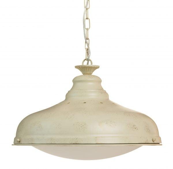 Amanda-45 on metallinen, riippuva kattovalaisin. Sen runko on väriltään antikvalkoinen ja lasi on luonnonvalkoinen.