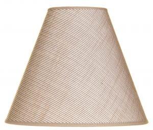 Beige lampunvarjostin, joka on kuosiltaan yksivärinen. Varjostin levenee ylhäältä alaspäin.