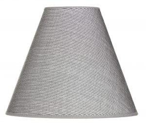 Harmaa lampunvarjostin, joka on kuosiltaan yksivärinen. Kippivarjostin levenee ylhäältä alaspäin. Sisäpinta on valkoinen.