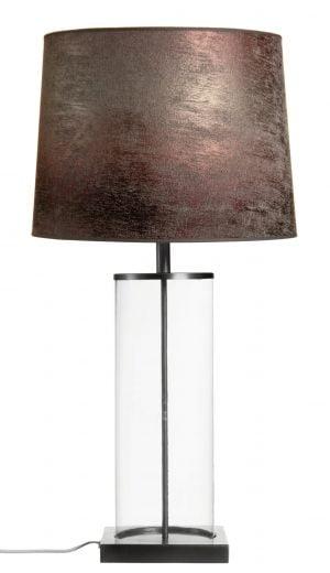 Pöytävalaisin jonka metallinen sähköosa on väriltään kromi.Pöytälamppu jonka kupuosan materiaali on kirkas lasi. Varjostin on laminoitua kangasta.