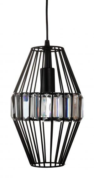 Kristallilamppu jonka runko on metallinen. Valaisin on väriltään musta.