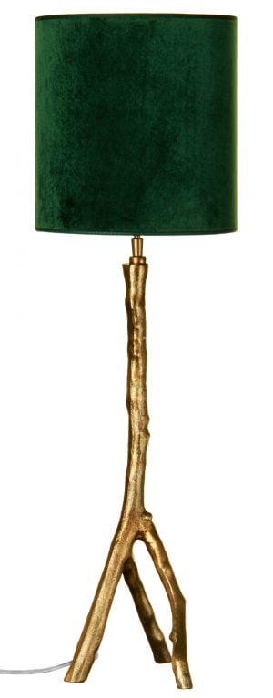 Metallinen oksaa muistuttava lampunjalka jonka väri on kulta. Sylinterin muotoinen varjostin on vihreä.