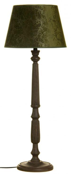 Puinen lampunjalka jonka väri on ruskea. Varjostimen väri on vihreä.