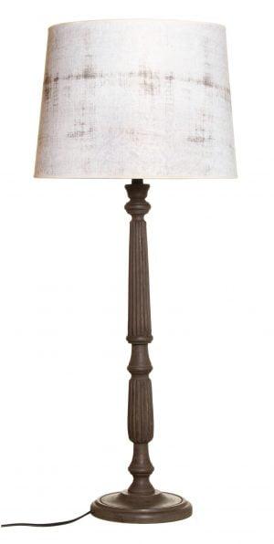 Puinen lampunjalka jonka väri on ruskea. Vaaleassa varjostimessa on beige kuvio.