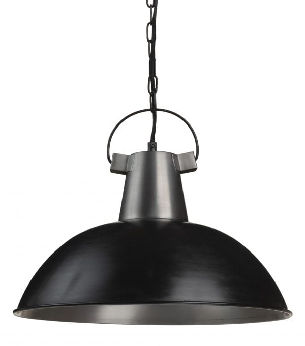 Riippuva kattovalaisin. Valaisin on materiaaliltaan metallinen. Väreinä musta ja teräs. Valaisimen sisäpuolen väri on teräs.