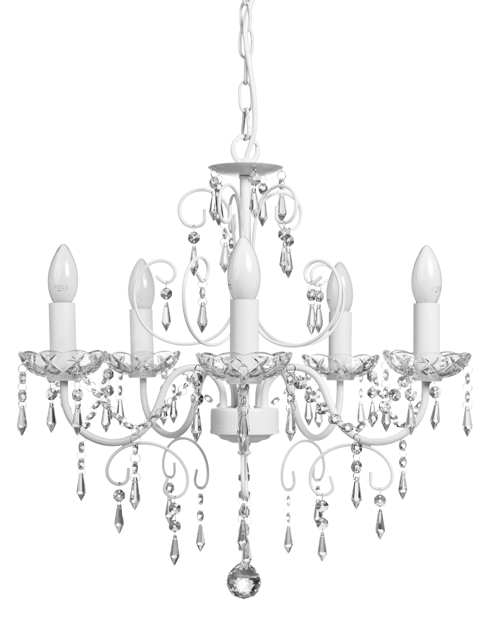Viisi haarainen, valkoinen kristallikruunu, jonka lampunkannoissa on lasiset mansetit. Kristalleja on runsaasti.