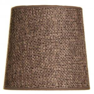 Yksivärinen lampunvarjostin jonka väri on ruskea. Varjostin on materiaaliltaan laminoitua kangasta.