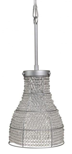Kristalli lamppu jonka runko on metallinen. Valaisin on väriltään harmaa.