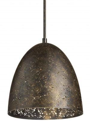 Metallinen, riippuva kattovalaisin. Valaisin on reikäkuvioitu ja sen väri on ruskea.