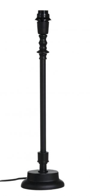 Musta lampunjalka, jossa on ovaali pohja.