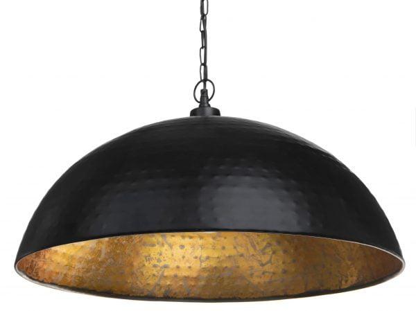 Metallinen, riippuva kattovalaisin. Valaisin on väriltään musta. Valaisimen sisäpuolen väri on kulta.