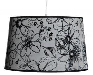 Riippuva kattovalaisin jossa on kukka kuvio. Valaisimen materiaalina on laminoitu kangas, väri on harmaa.
