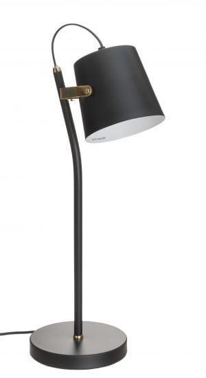 Metallinen pöytävalaisin. Pöytälamppu on väriltään musta. Varjostin on sisäpuolelta valkoinen.