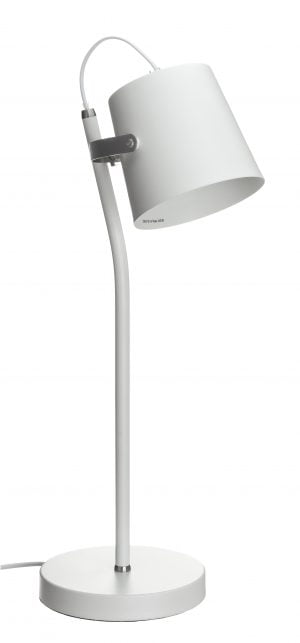 Metallinen pöytävalaisin. Pöytälamppu on väriltään valkoinen. Koristeosien väri on kromi.