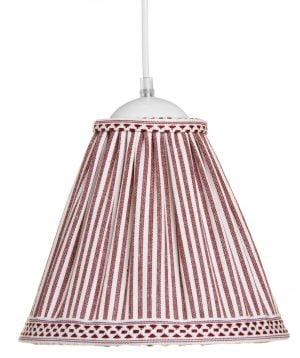 Riippuva kattovalaisin jossa on raita kuvio. Valaisimen materiaalina on kangas, väreinä punainen ja valkoinen.