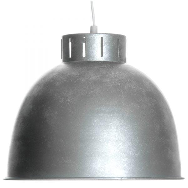 Riippuva kattovalaisin. Valaisin on metallinen , värinä hopea ja harmaa.