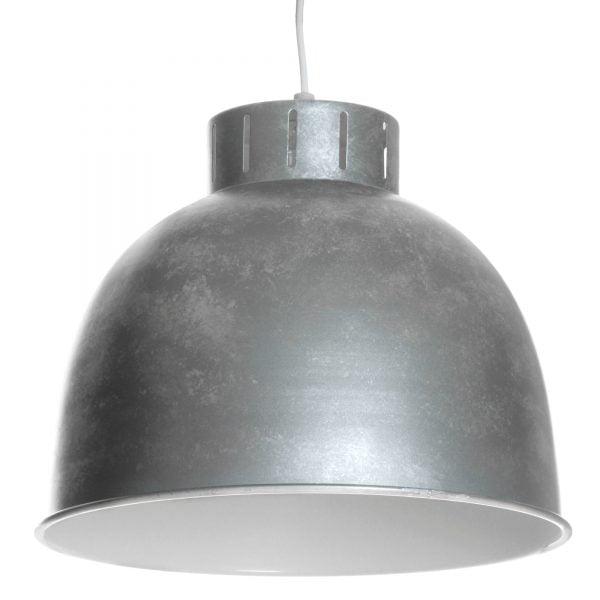 Riippuva kattovalaisin. Valaisin on metallinen , värinä hopea ja harmaa. Valaisimen sisäpuoli on valkoinen.