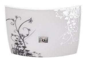 Malliltaan neliskulmainen lasinen plafondi. Kattoplafondissa on kolme valopistettä. Koristeena kukka kuvio.
