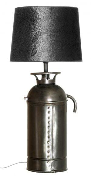Metallinen sammuttimen muotoinen lampunjalka. Kyljessä niittikoristelu. Varjostin on harmaa ja siinä on paisley kuvio.