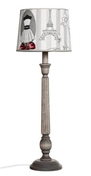 Puinen lampunjalka jonka väri on harmaa. Varjostimen kuvassa on eiffel torni.