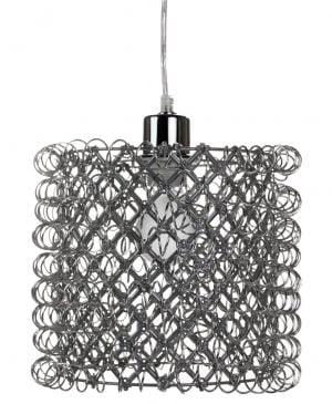 Riippuva kattovalaisin. Valaisin on metallinen ja sen pinta on tehty kiharaisesta metallilangasta.