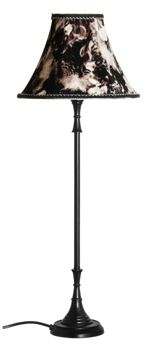 Metallinen lampunjalka jonka väri on musta. Varjostin on tumman sävyinen.