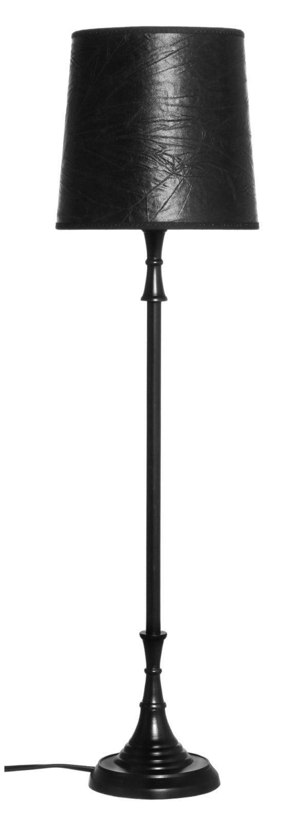 Metallinen lampunjalka jonka väri on musta. Myös varjostin on musta.