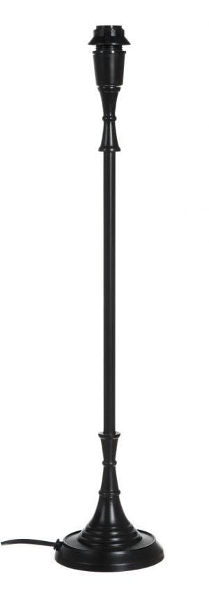 Musta lampunjalka, joka on valmistettu metallista. Pohja on pyöreä.