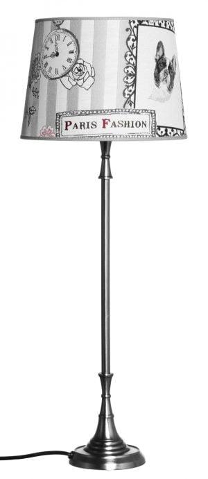 Metallinen lampunjalka jonka väri on teräs. Varjostimessa on koira kuvio.