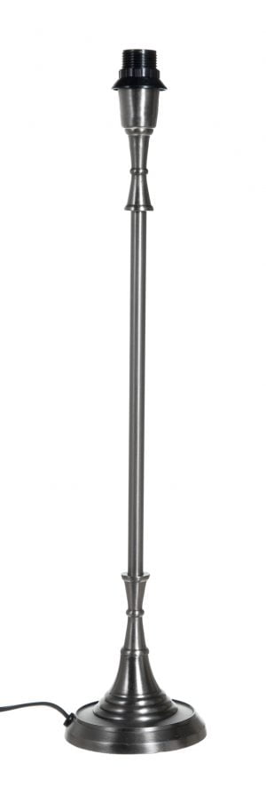 Harjatun teräksen värinen lampunjalka, jossa on pyöreä pohja.