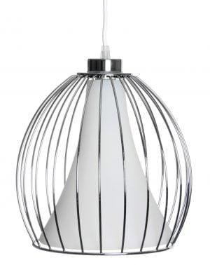 Riippuva kattovalaisin. Valaisin on metallinen ja sen väri on kromi. Metallilangasta tehdyn kehikon sisällä on valkoinen lasi.
