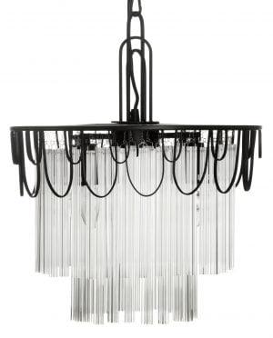 Metallinen ja lasinen, riippuva kattovalaisin. Valaisin koostuu metallisesta rungosta jonka koristeena on lasisia puikkoja.