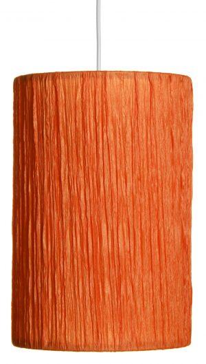 Oranssi kangasvalaisin, jonka kangas on rypytettyä kreppikangasta. Valaisin on sylinterin muotoinen, ja sen johto on valkoinen.