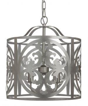 Hopean värinen, metallinen riippuva kattovalaisin. Rungossa on leikattu ornamenttikuviointi. Kattokruunu sisältää neljä kantaa.